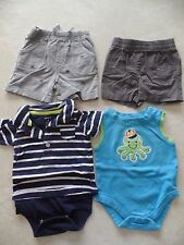 baby boys 4 PIECE OUTFITS LOT skull shorts OCTOPUS ROMPER carter's 0-3 MONTHS