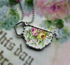 Vintage Recycled Broken China~Sweet Pink Tea Cup Roses~Pendant~Crystal~Tea Cup