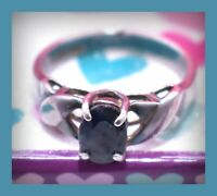 ❤️VTG Solitaire Sterling Silver Dark Blue Sapphire Ring 2 g Sz 5 Signed DI❤️