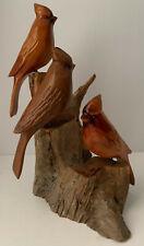 Three Hand Carved Birds Cardinals Wooden