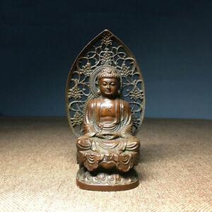 Buddhism Antique Bronze carved Sakyamuni Amitabha Tathagata Buddha Statue