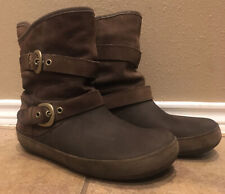 Womens Earthy Brown Suede Crocs Slouch Boots Size 10