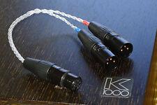Cavo in Argento Coda bilanciato Adattatore per AKG k1000 2x 3-pin XLR maschio a 4-pin XLR
