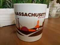 Massachusetts Runs On Dunkin Donuts Destination Cup Mug Orange Brown Skyline