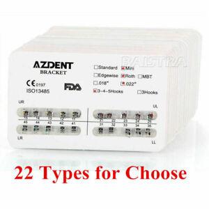22 Type AZDENT Dental Orthodontic Metal Bracket Brace Roth/MBT Hook 345