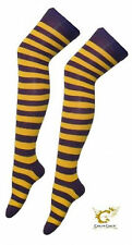 Over The Knee Purple And Yellow Harry Potter Hogwarts Stripey Book Week Socks