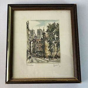 vintage SIGNED COLORED ETCHING EUROPEAN CITYSCAPE BLOCK PRINT