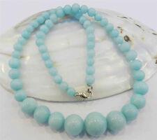 "6-14mm Light Blue Brazilian Aquamarine Gems Round Beads Necklace 18"""