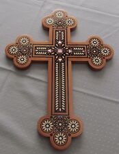 """Pear Wood Cross in Intarsia Design+Inlaid with Glass&Mother of Pearl Beads,16"""""""
