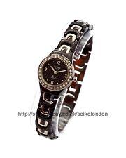 Omax Ladies Diamonte Black Dial Watch, 2-Tone Finish, Seiko (Jpn) Mvt RRP £49.99