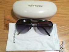 YVES SAINT LAURENT Large Aviator Rimless Black Grey Sunglasses. 2319/S 815JJ 135