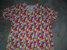 Crest Tulip Design Uniform Scrub Top Size Medium
