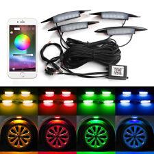 4x RGB LED Auto Wheel-Well Neon Glow Lights Side Lamp Kit Phone App Control