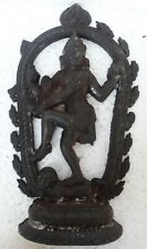 Antique Rare Solid Heavy Cast Iron Hindu God Shiva Dancing Natraj Figure Statue