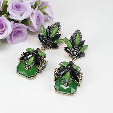 Deco Gatsby 1920s Style Green Faux Crystal Stud Dangle Earrings