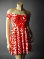 Sale Red White Leopard Print Off The Shoulder Pinup Sun Skater 87 mv Dress S M L