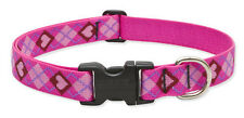 "Lupine Dog Collar 1/2"" PUPPY LOVE 6""- 9"" New Pink Hearts Diamonds Red USA"