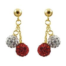 6mm Dark Red White Crystal Ball Sterling Silver Gold Plated Kids Earrings