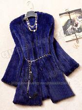 100% Real Genuine Knitted Mink Fur Long Coat Jacket Outwear Sweater Vintage Warm