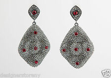 Shay Swarovski Crystals large waves earrings  w/ 5 red crystals on corner/center