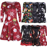 Womens Xmas Swing Flared Long Sleeve Ladies Christmas Santa Party Skater Dress