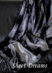"""Nicole Miller Faux Fur Ombre Throw Blanket Dark Gray Black 50"""" x 60""""  New Tags"""