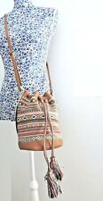 Animal Women Faux Leather Tapestry Textile Bucket Cross Body Boho Shoulder Bag