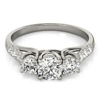 2.10 Ct Diamond Wedding Band 14K Solid White Gold Three Stone Ring Size L M N P