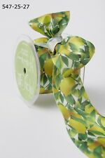 """MAY ARTS~LEMON LEAVES RIBBON~WIRE EDGE~YELLOW-GREEN-WHITE~2 &1/2"""" WIDE X 1 YD!"""