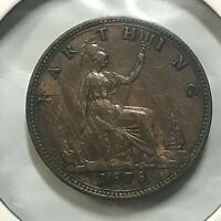 GREAT BRITAIN 1878  FARTHING HIGH GRADE BEAUTIFUL COIN