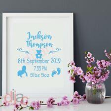 BABY BOY BIRTH DETAILS (D2) VINYL DECAL STICKER for FRAME, BLOCK, 15 x 15 cm