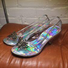 """Ellie Shoes Clear Cinderella """"glass"""" Silver Butterfly Pumps Kitten 3"""" Heel Sz 6"""