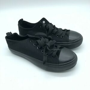 Epicstep Womens Sneakers Low Top Lace Up Canvas Black Size 6