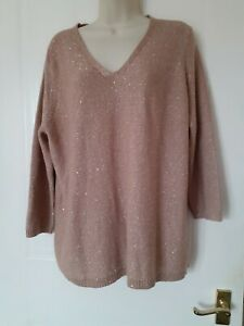 Laura Ashley Womens Smart Work Party Jumper  Brown Sparkles Size 16~Immaculate