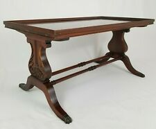 Antique Mahogany Lyre Coffee Table Federal imperial Grand Rapids Vintage