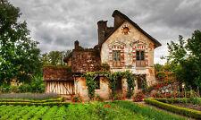 Impression encadrée-belle vielle ferme avec jardin potager (photo poster)