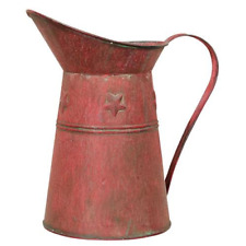 Red Metal Pitcher Rustic Rusty Distressed Embossed stars Vintage Farmhouse decoc