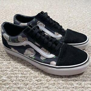 Vans Old Skool Skateboarding Shoes Low Top Floral Black White Size M 7.5 W 9