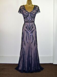 GORGEOUS NAVY BLUE EMBELLISHED EVENING PARTY OCCASION MAXI DRESS SIZE 14 16 NEW