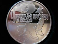 1 OZ.999 PURE SILVER TEXAS HOLD'EM POKER ENGRAVABLE CARD GUARD COIN BOXED +GOLD