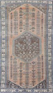 Antique Muted Abadeh Geometric Oriental Area Rug Wool Hand-knotted 6'x10' Carpet