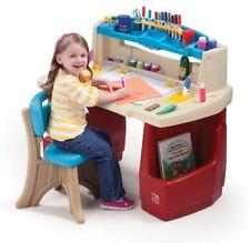 Kids Preschool Art Painting Desk Homework Table w Light Shelf Storage Bin Cubby