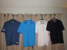 HEAD WILSON polo shirt lot of {4} shirts golf tennis white blue microfiber MED