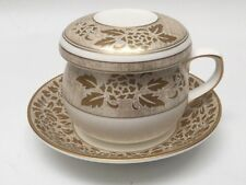 Hankook Fine China Korean Tea Cup With Infuser/Saucer/Lid Gold Satin Floral