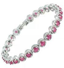 Gorgeous 4MM Ruby Gemstone Tennis Bracelet 14KT White Gold