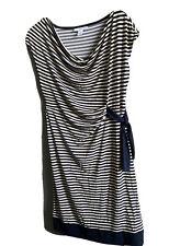Motherhood Navy Striped Maternity Jersey Dress Wrap Tie Stretch Short Sleeve M