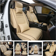 Deluxe Edition Car Seat Cover Cushion 5-Seats Front+Rear PU Leather w/Pillows