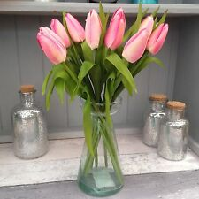 Bunch of Pink Tulips Real Touch Leaves Artificial Silk Flowers 12 Stems