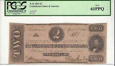 1863, T-61 Confederate Note, Pcgs 61 Ppq, Scarce Grade!