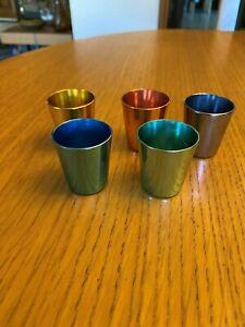 Vintage EMKA Palettan Aluminium  Schnapps Mugs in pastel colours